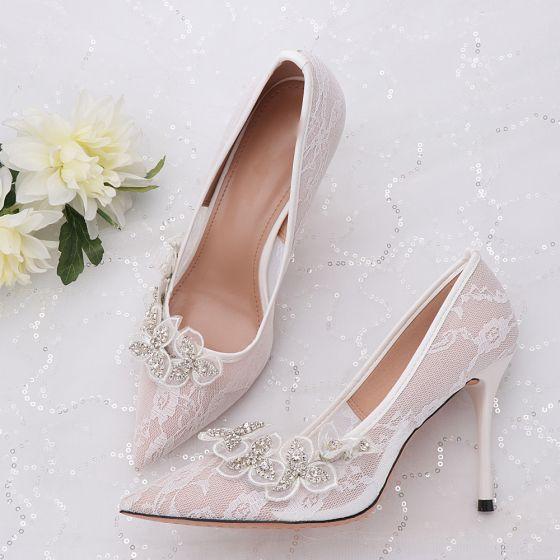 Elegante Marfil Zapatos de novia 2020 Tul Rhinestone Con Encaje Flor 9 cm Stilettos / Tacones De Aguja Punta Estrecha Boda Tacones