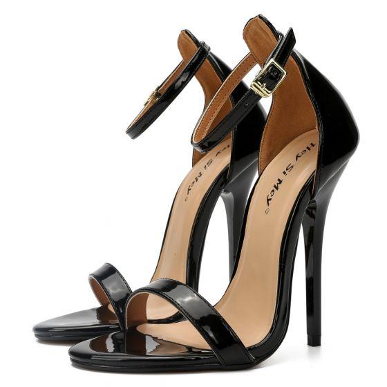 Enkel Svart Karnevals klubb Sandaler Dame 2020 Ankelstropp 13 cm Stiletthæler Peep Toe Sandaler