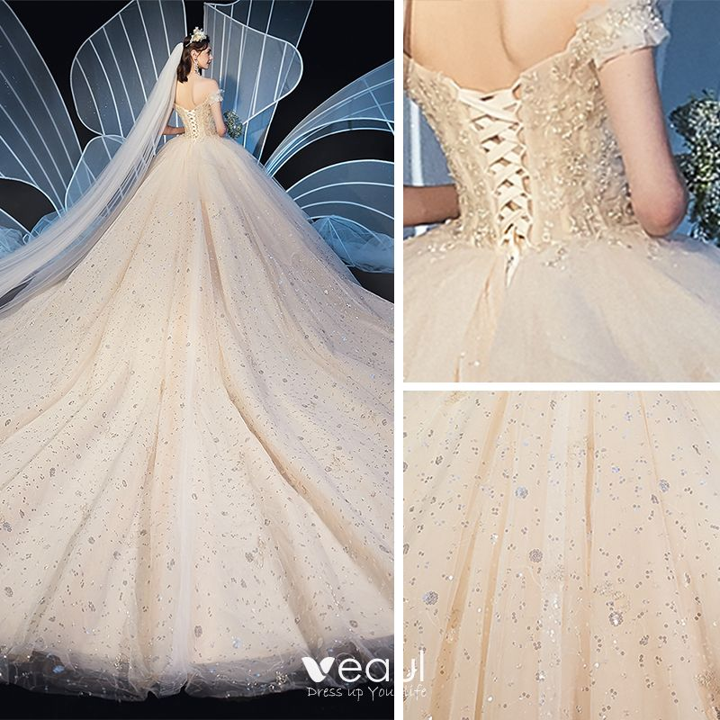 Chic / Beautiful Champagne Wedding Dresses 2019 Ball Gown Off-The-Shoulder Short Sleeve Backless Beading Glitter Sequins Cathedral Train Ruffle
