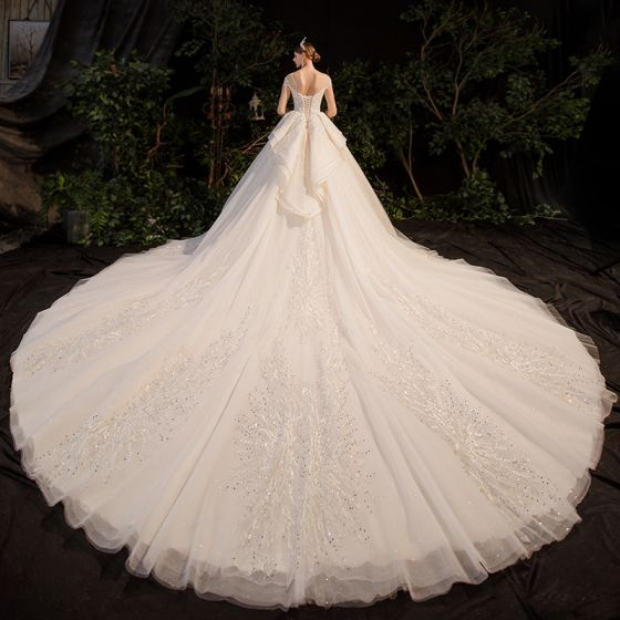 Luxury / Gorgeous Champagne Bridal Wedding Dresses 2020 Ball Gown See-through Scoop Neck 3/4 Sleeve Backless Appliques Lace Beading Rhinestone Glitter Tulle Royal Train Ruffle