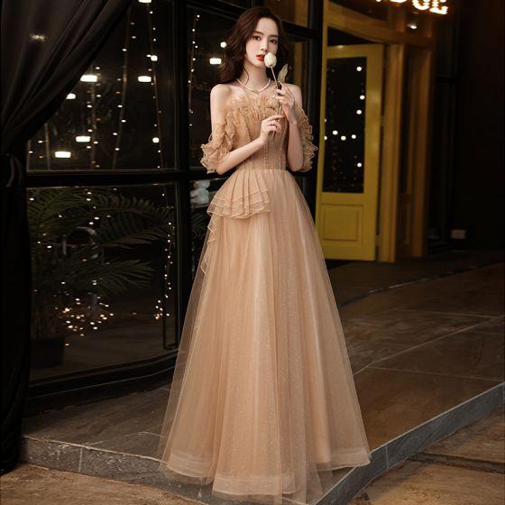 Uroczy Szampan Rhinestone Sukienki Na Bal 2021 Princessa Wzburzyć Przy Ramieniu Bez Rękawów Długie Bal Sukienki Wizytowe
