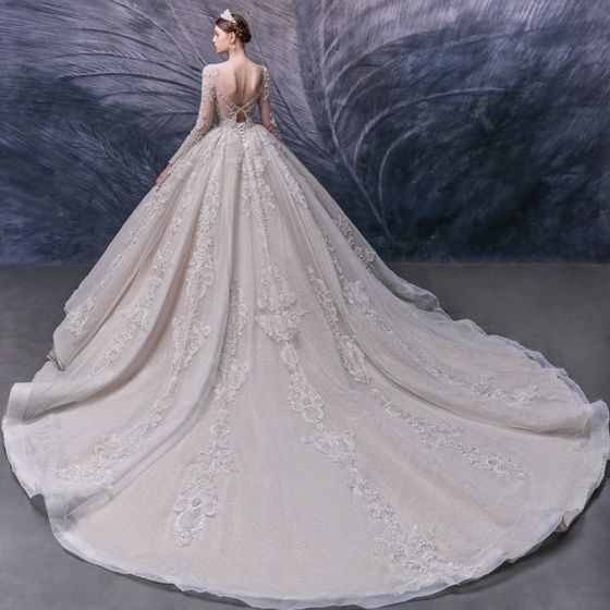 Luxury / Gorgeous Champagne Bridal Wedding Dresses 2020 Ball Gown See-through Scoop Neck Long Sleeve Backless Handmade  Beading Cathedral Train Ruffle