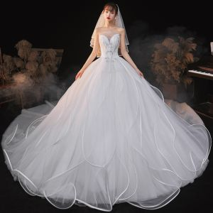 Charming White Wedding Dresses 2020 Ball Gown Strapless Sequins Sleeveless Backless Royal Train