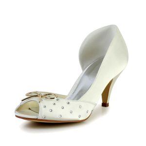 Scintillant Peep Toe Secondaires Ouverte Milieu Talons En Satin Or De Mariée Chaussures De Mariage Avec Du Métal Noeud