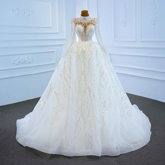 Illusion White See-through Bridal Wedding Dresses 2021 Ball Gown High Neck Long Sleeve Backless Handmade  Beading Sequins Court Train Ruffle