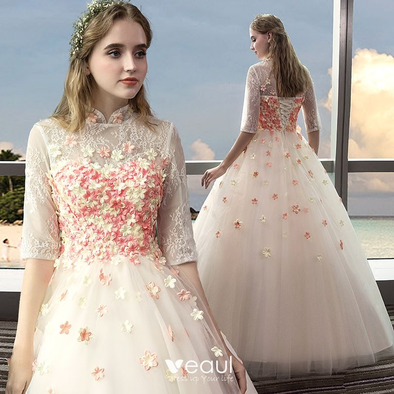 Champagne Wedding Gowns With Sleeves: Vintage Outdoor / Garden Champagne Wedding Dresses 2017