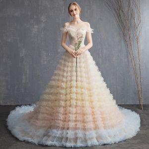 Farbig Multifarben Brautkleider 2018 A Linie Off Shoulder Kurze Ärmel Rückenfreies Rüschen Kathedrale Schleppe