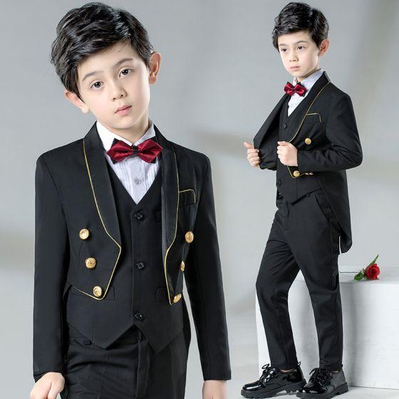 Elegant Black Tailcoat / Tuxedo Boys Wedding Suits 2019