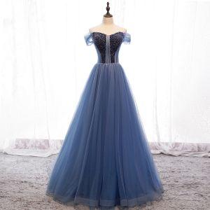 Chic Océan Bleu Robe De Soirée 2019 Princesse De l'épaule Perlage Cristal Sans Manches Dos Nu Train De Balayage Robe De Ceremonie