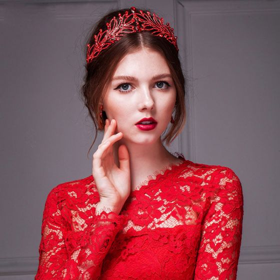 Red Tiara Crown / Handmade Rhinestone Earrings Piece Suit