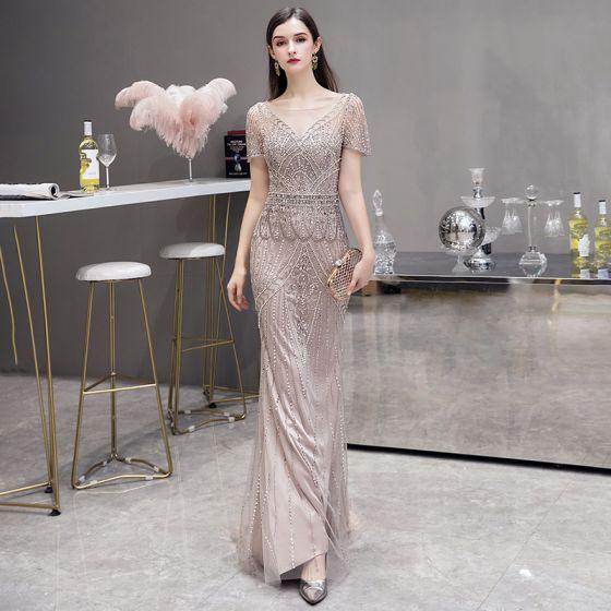 High-end Champagne See-through Evening Dresses  2020 Trumpet / Mermaid Square Neckline Sleeveless Handmade  Beading Sweep Train Formal Dresses