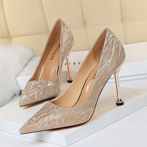 Sparkly Gold Evening Party Pumps 2020 Sequins 9 cm Stiletto Heels Pointed Toe Pumps