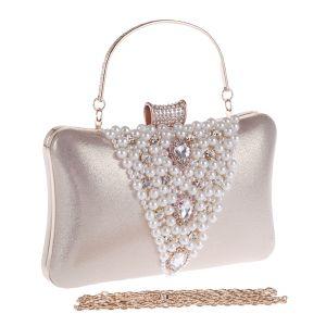 Chic / Beautiful Gold Beading Pearl Rhinestone Metal Clutch Bags 2018