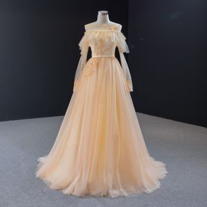 Classy Champagne See-through Evening Dresses  2020 A-Line / Princess Square Neckline Puffy Long Sleeve Beading Sash Sweep Train Ruffle Backless Formal Dresses