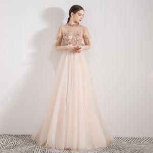 Vintage Champagner Durchsichtige Abendkleider 2019 A Linie Stehkragen 1/2 Ärmel Applikationen Blumen Perlenstickerei Lange Rüschen Festliche Kleider