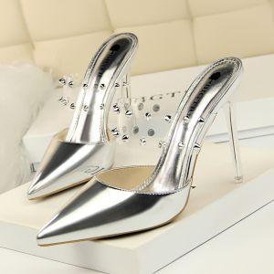 Schöne Silber Freizeit Niet Sandalen Damen 2020 10 cm Stilettos Spitzschuh Sandaletten