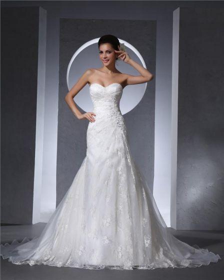 Sweetheart Floor Length Beading Lace Organza Chapel Train Women Mermaid Wedding Dress