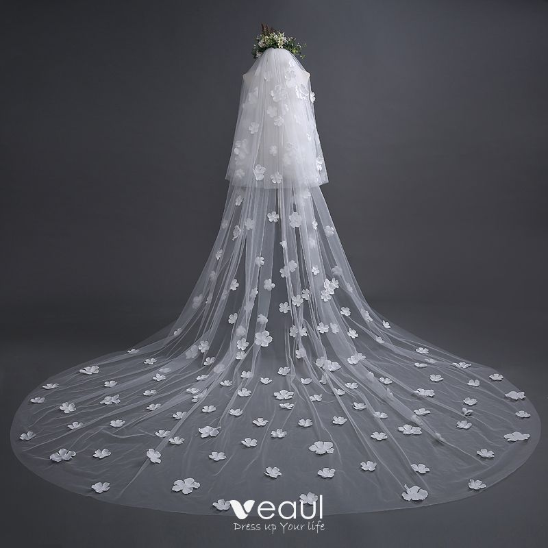 Chic / Beautiful White Wedding Veils 2017 Tulle Appliques Embroidered Wedding