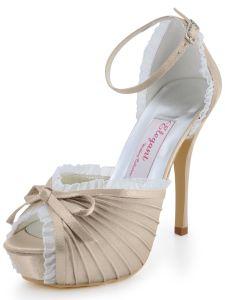 Die Neuen Ultra-high Heels Schuhe Hochzeitsschuhe Beige Satin Handgemachten Custom Hochzeit Schuhe