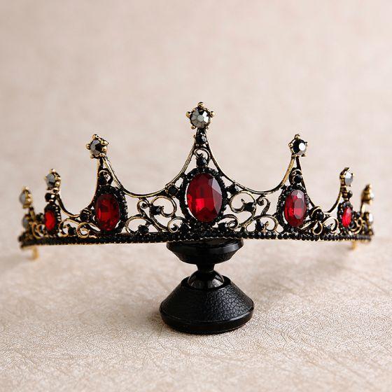 Vintage / Retro Baroque Red Rhinestone Tiara 2020 Metal Bridal Hair Accessories