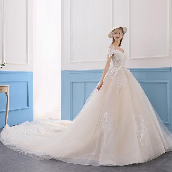 Schone Champagner Brautkleider Hochzeitskleider 2019 A Linie Off