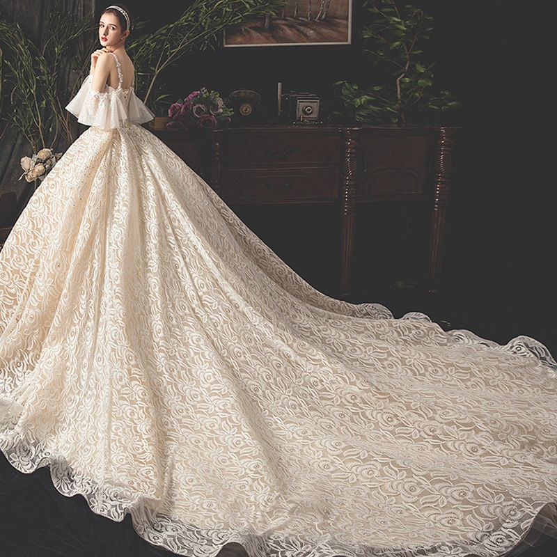 Luxury / Gorgeous Champagne Lace Wedding Dresses 2019 Ball Gown Spaghetti Straps Short Sleeve Backless Rhinestone Glitter Tulle Royal Train Ruffle