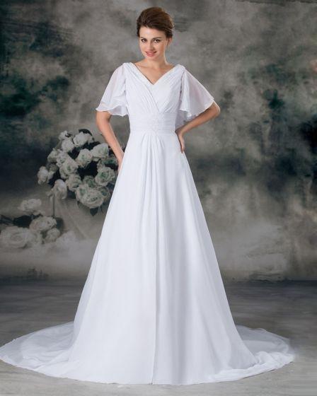vestido de novia de gasa plisada corte imperio longitud del piso que