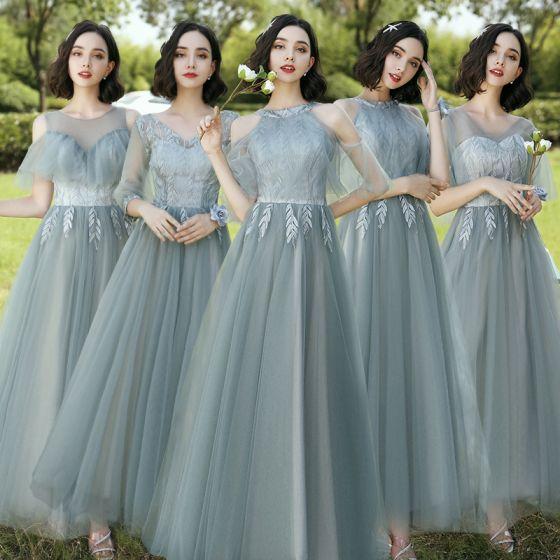 Proste / Simple Szałwia Zielony Haftowane Sukienki Dla Druhen 2021 Princessa V-Szyja Kótkie Rękawy Bez Pleców Długie Sukienki Na Wesele