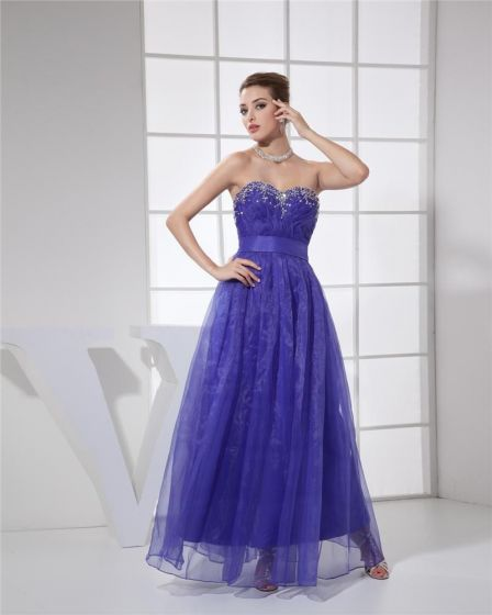 Ball Gown Sweetheart Sleeveless Zipper Beading Pleated Ankle Length Organza Silk Charmeuse Woman Quinceanera Prom Dress
