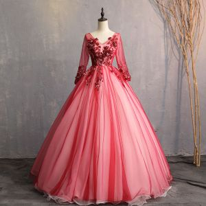 Vintage / Retro Burgundy Prom Dresses 2019 A-Line / Princess V-Neck Beading Pearl Crystal Lace Flower Appliques Long Sleeve Backless Floor-Length / Long Formal Dresses