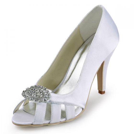 cf7fc7e7ab80 Brugerdefinerede Brudesko Elegant Satin Brudepige Sko Kvinder Fisk Hoved  Diamant Spænde