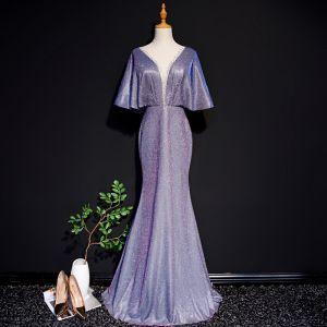 Charmant Grape Robe De Soirée 2019 Trompette / Sirène Col v profond Glitter Polyester Faux Diamant 1/2 Manches Longue Robe De Ceremonie