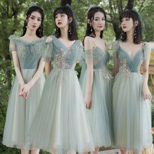 Rimelig Grønn Brudepikekjoler 2021 Prinsesse Ryggløse Appliques Blonder Te-lengde Buste