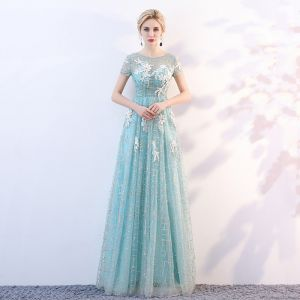Chic / Beautiful Pool Blue See-through Evening Dresses  2018 A-Line / Princess Scoop Neck Short Sleeve Glitter Tulle Appliques Flower Floor-Length / Long Ruffle Backless Formal Dresses