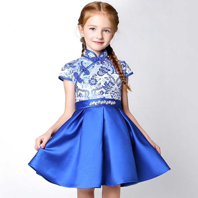 Chinese style Church Wedding Party Dresses 2017 Flower Girl Dresses Royal Blue Short A-Line / Princess Cascading Ruffles High Neck Short Sleeve Embroidered Rhinestone Bow Sash