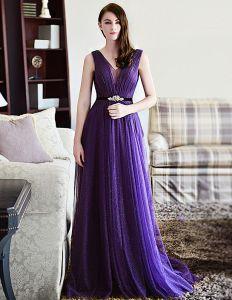 2015 A-linie Schultern Tiefem V-ausschnitt Tüll Abendkleid Mit Schärpe