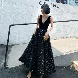 Fashion Black Prom Dresses 2020 A-Line / Princess Square Neckline Sequins Sleeveless Backless Floor-Length / Long Formal Dresses