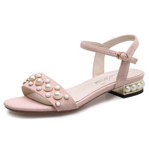 Chic / Belle Cuir Chaussures Femmes 2017 Jardin / Extérieur Perle Talon Bas Peep Toes / Bout Ouvert Sandales