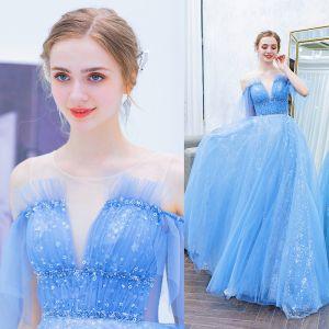 Élégant Bleu Robe De Soirée 2019 Princesse Encolure Dégagée Perlage Paillettes Étoile Manches Courtes Dos Nu Train De Balayage Robe De Ceremonie