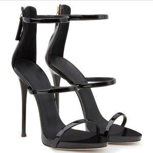 Sexy Schwarz Cocktail Sandalen Damen 2020 Knöchelriemen 12 cm Stilettos Peeptoes Sandaletten