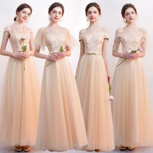 Affordable Champagne Bridesmaid Dresses 2019 A-Line / Princess Appliques Lace Bow Sash Floor-Length / Long Backless Wedding Party Dresses