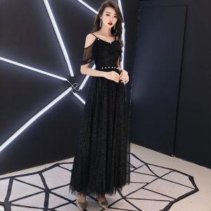 Bling Bling Black Evening Dresses  2018 A-Line / Princess Spaghetti Straps Short Sleeve Glitter Tulle Ankle Length Ruffle Backless Formal Dresses