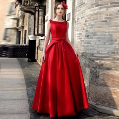 Vintage / Retro Red Maxi Dresses 2019 A-Line / Princess Scoop Neck Sleeveless Bow Backless Floor-Length / Long Womens Clothing