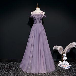 High-end Lavender Evening Dresses  2020 A-Line / Princess Scoop Neck Short Sleeve Beading Floor-Length / Long Ruffle Backless Formal Dresses