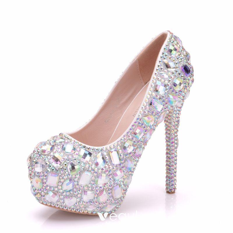 Silver Round Toe Rhinestone Stiletto High Heeled Shoes