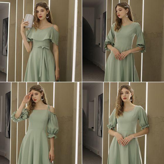 Simple Vert Cendré Robe Demoiselle D'honneur 2021 Princesse Encolure Dégagée Noeud Manches Courtes Dos Nu Demoiselle D'honneur Robe Pour Mariage