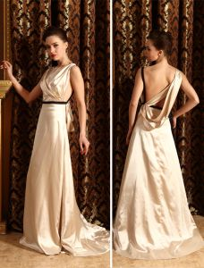 2015 Fashionable A-line Shoulders Sash Floor-length Evening Dress