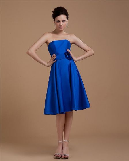 Satin Manual Flower Sweetheart-Neck Sleeveless Bridesmaid Dresses