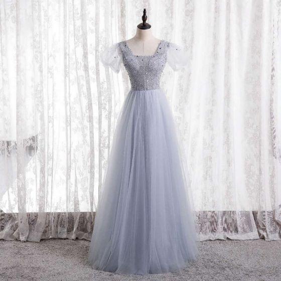 Charmant Argenté Robe De Bal 2021 Princesse Perlage Paillettes Encolure Carrée Mancherons Dos Nu Longue Robe De Ceremonie