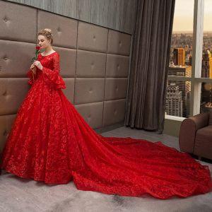 Schöne Rot Brautkleider 2018 Ballkleid Star Rundhalsausschnitt Lange Ärmel Rückenfreies Kathedrale Schleppe Hochzeit
